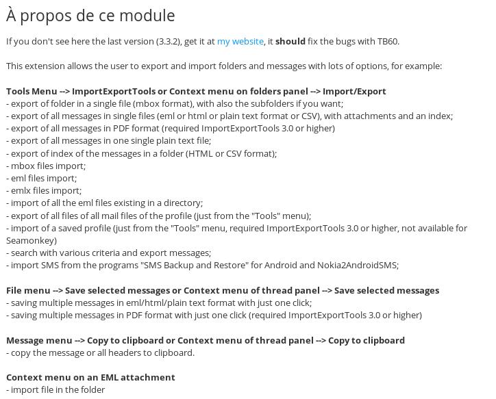 Thunderbir et importexporttools chez openfacto.fr
