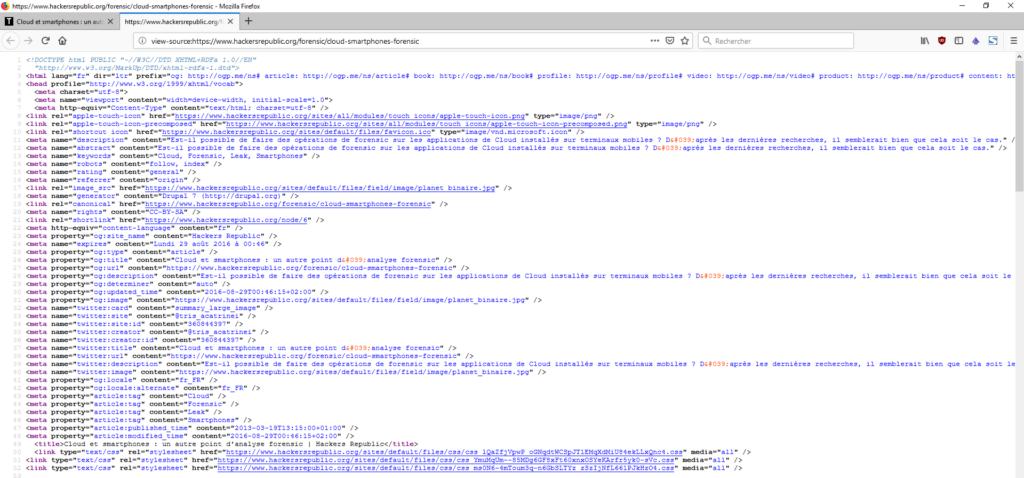 Un exemple de balise sémantique SEO Openfacto Osint