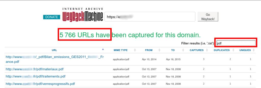 Capture d'écran d'une recherche sur Archive.org