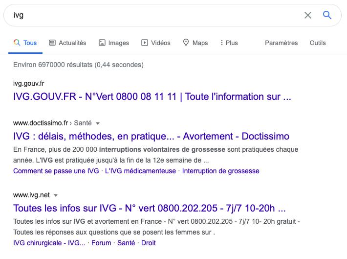 ivg.net, «Pour vous apporter un soutien dans le cadre d'un projet d'IVG». Ou pas?